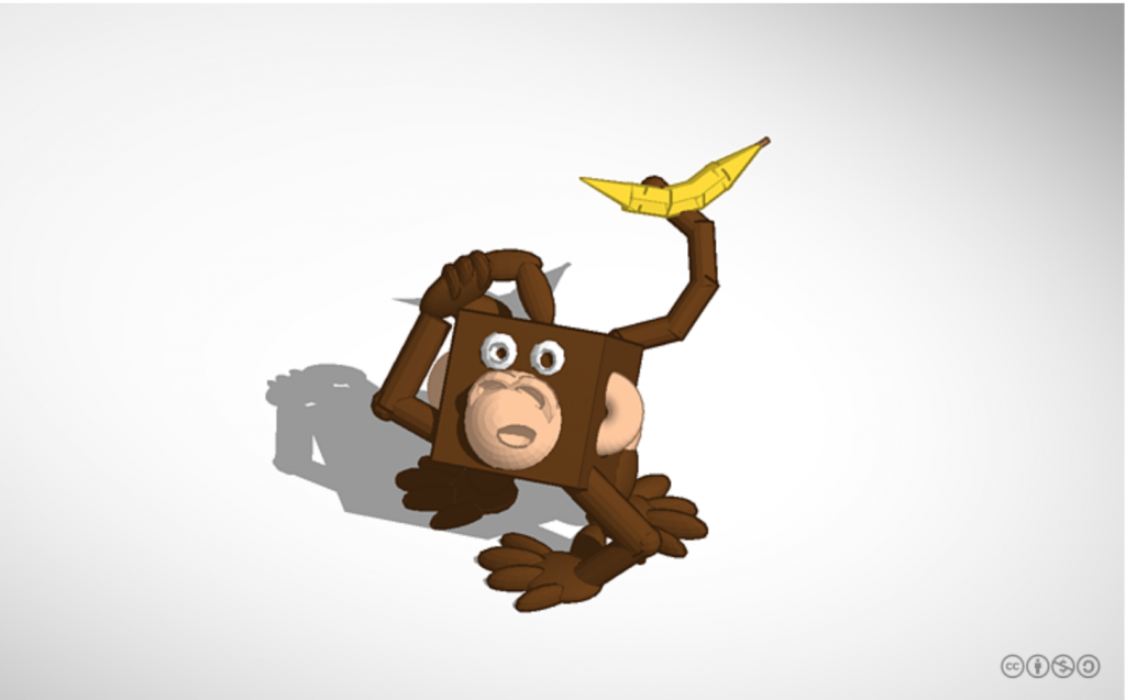 A #3DBlockZoo monkey designed in Tinkercad by YouTuber PrintThatThing