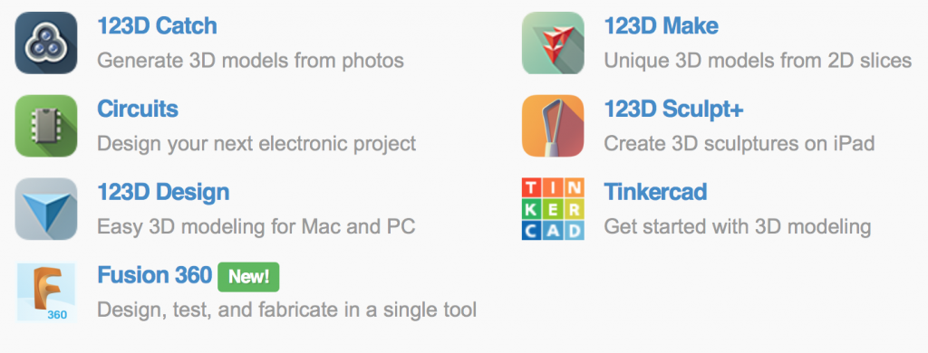 The full range of Autodesk 123D apps. Screenshot via: 123dapp.com
