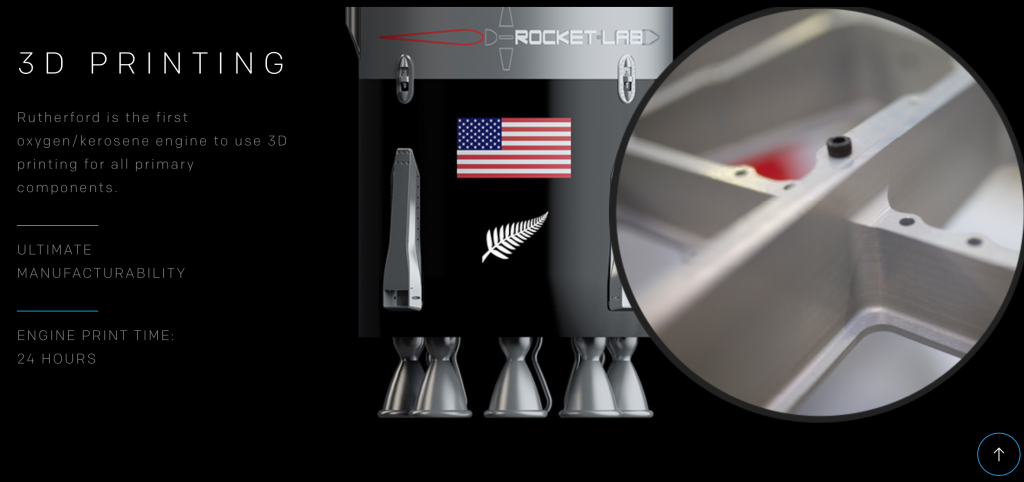 Detail & render of the 3D printed Rutherford engine. Image via: Rocket Lab