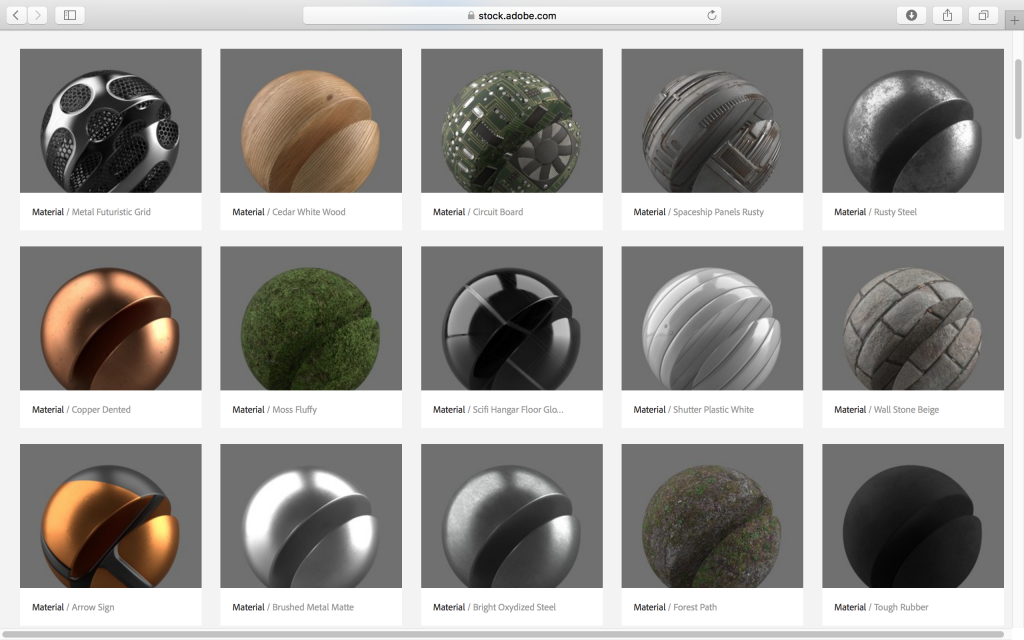 3D materials/textures compatible with Project Felix. Screenshot via: Adobe Stock