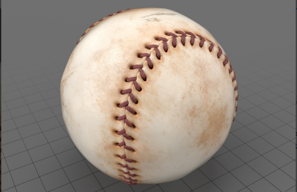 Sphere with baseball texture. Image via: Adobe Stock