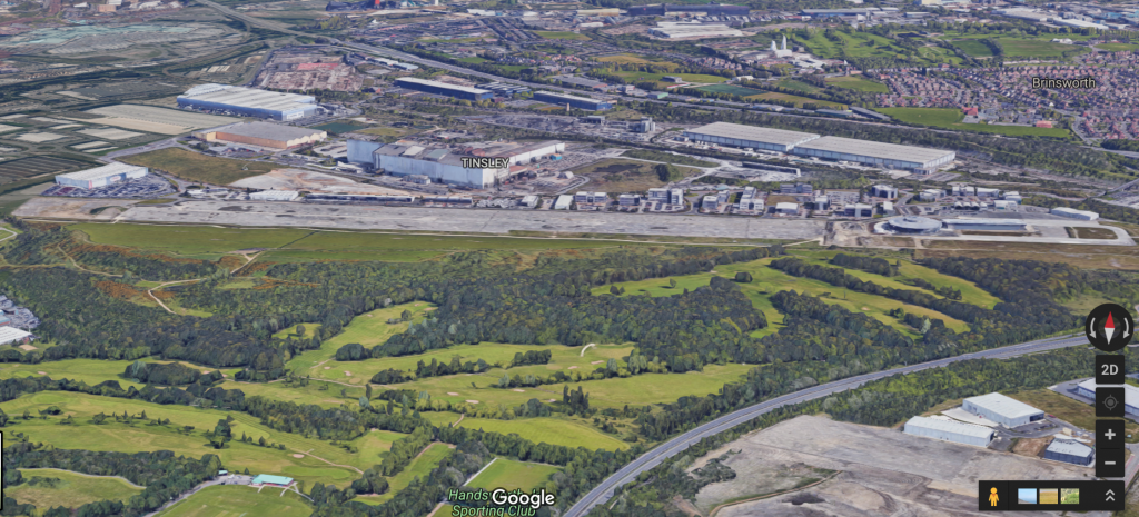 Satellite image of Sheffield's Advanced Manufacturing Innovation District. Image via: Google Maps