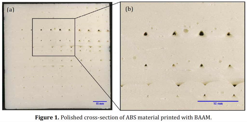 Figure 1 showing voids in BAAM printed ABS. Photo via: Duty, Chad E, Kunc, Vlastimil, Compton, Brett, Post, Brian, Erdman, Donald, Smith, Rachel, Lind, Randall, Lloyd, Peter, Love, Lonnie Rapid Prototyping Journal 2017 23:1