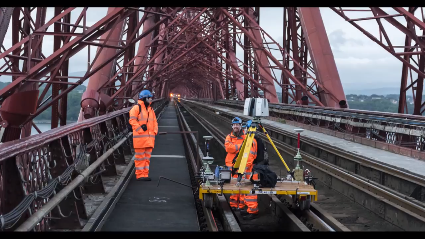 The team used scanning along the railway track in order to complete the project. Image via Forth Bridges.