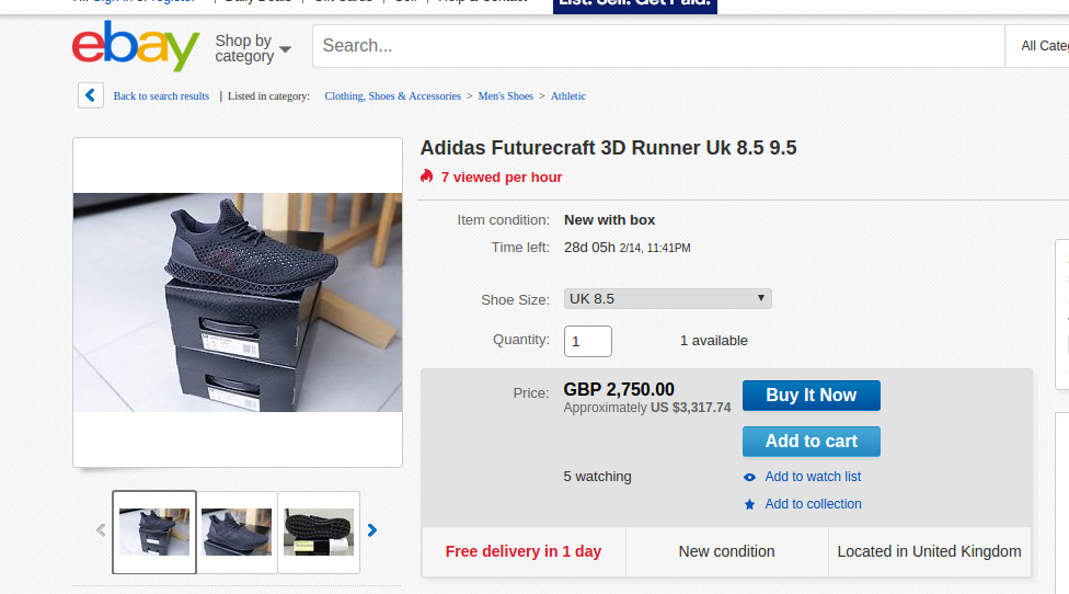 The 3D printed runner from Adidas will now fetch a high price. Screenshot via Ebay.