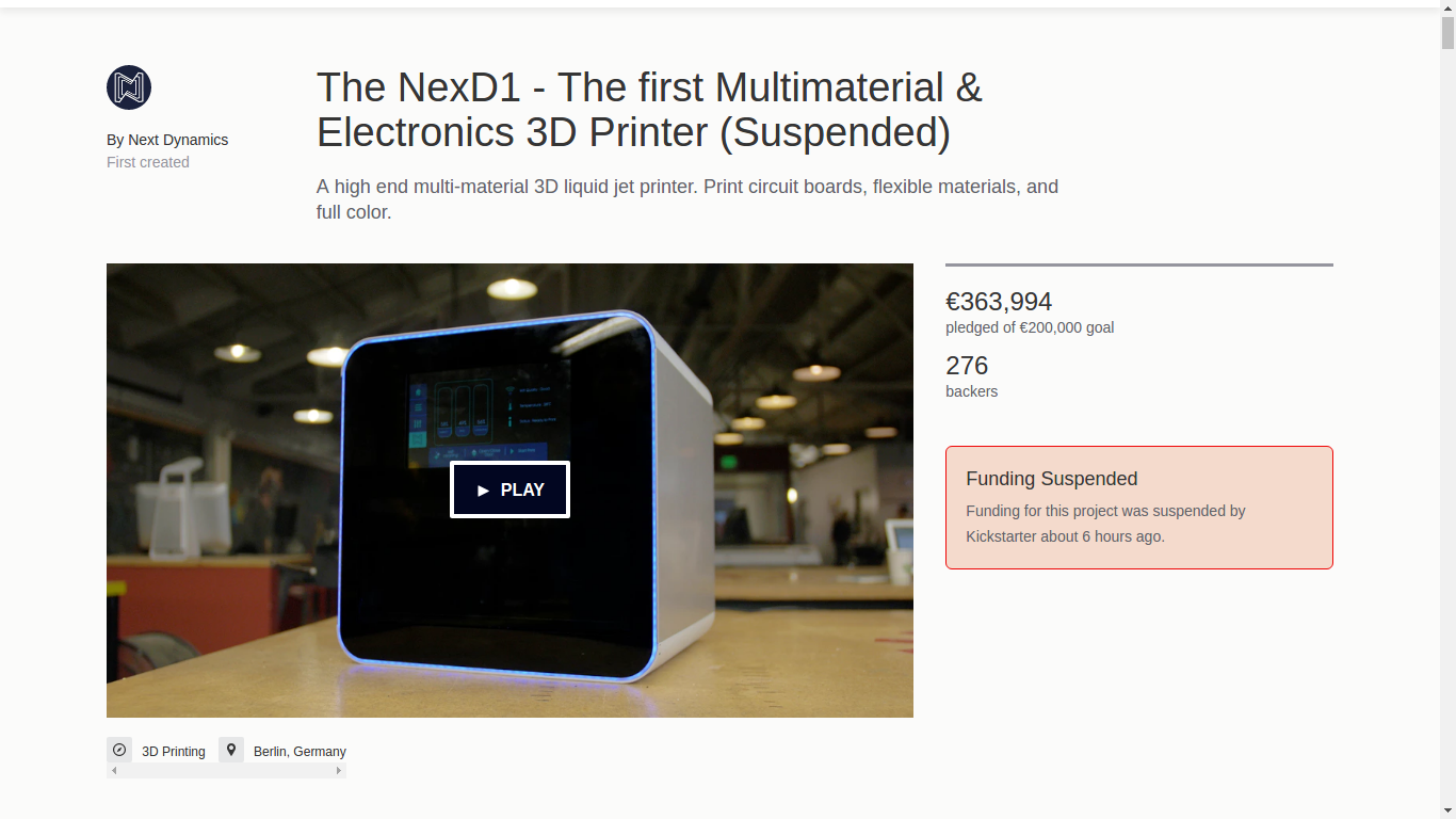 The suspended NexD1 project. Screenshot via Kickstarter.