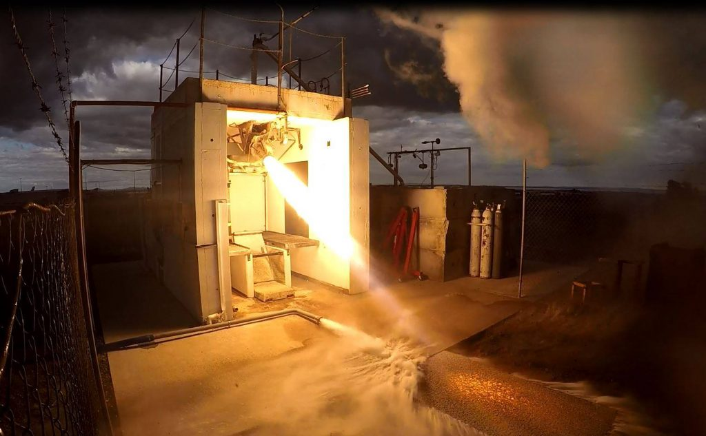 Hot fire testing of Rocket's Lab Rutherford engine. Photo via Rocket Lab