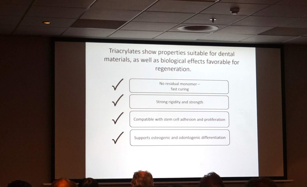 Proven abilities of triaclytes in vitro. Slide via: Regenerative Polymers for Dentisrty by Dr. Adam Celiz