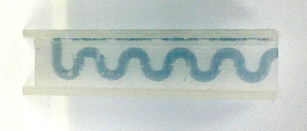 Automatic flow of dye in the FFF 3D printed microfluidic device from Cranfield Photo via Dr. Matthew Partridge