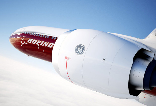 Boeing's 777x aircraft with GE9X engine turbine. Image via Boeing.