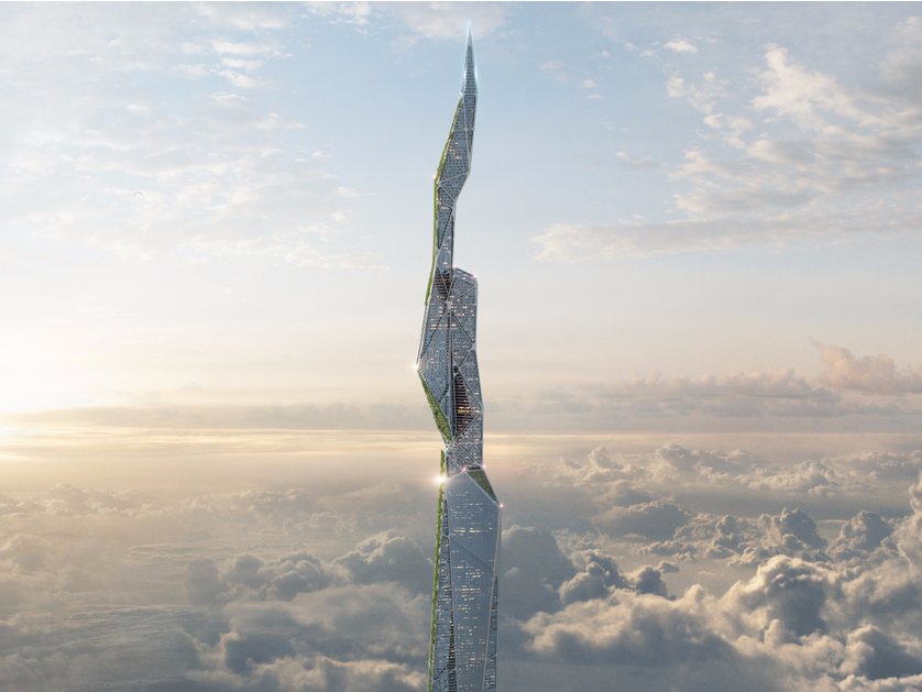 3D render of the smog-eating skyscraper. Image via: Arconic