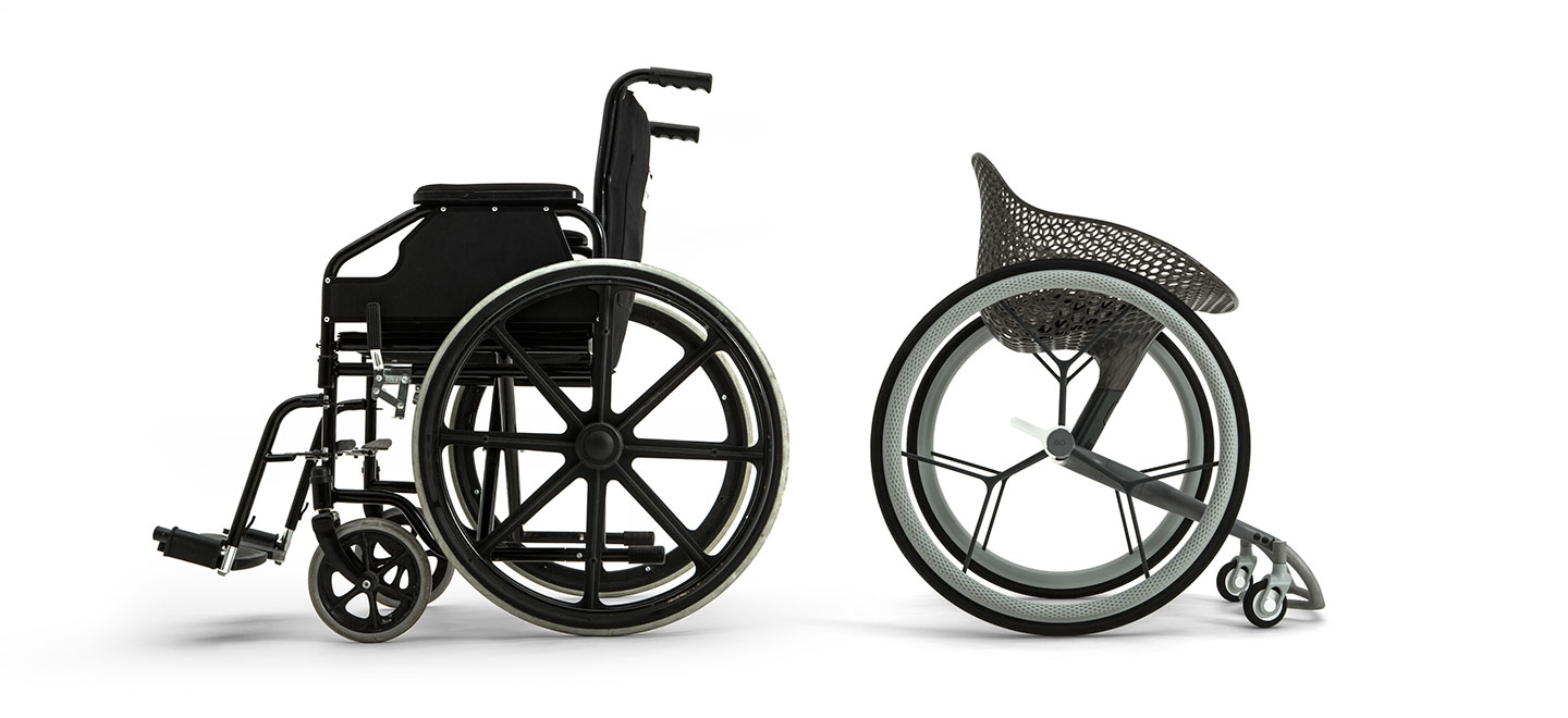 Comparison between Layer's GO and more conventional wheelchairs. Image via Layer.