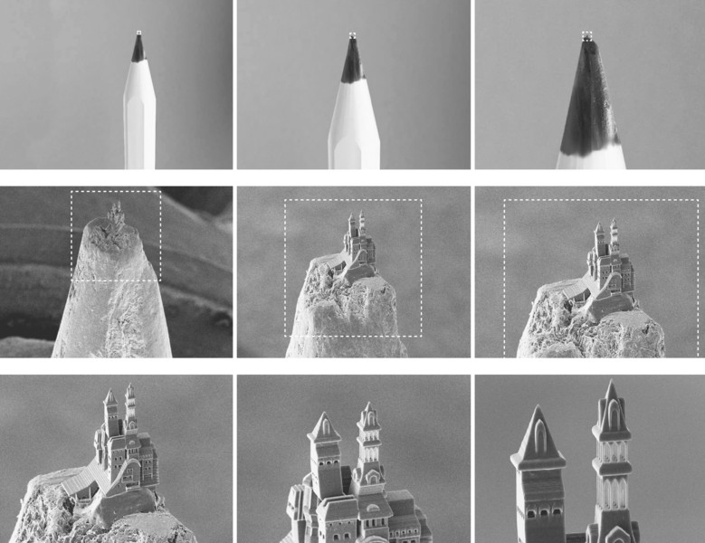 Zooming in on the pencil-point castle - the cover of Multiphoton Lithography: Techniques, Materials and Applications. Image via: Ovsianikov et al.