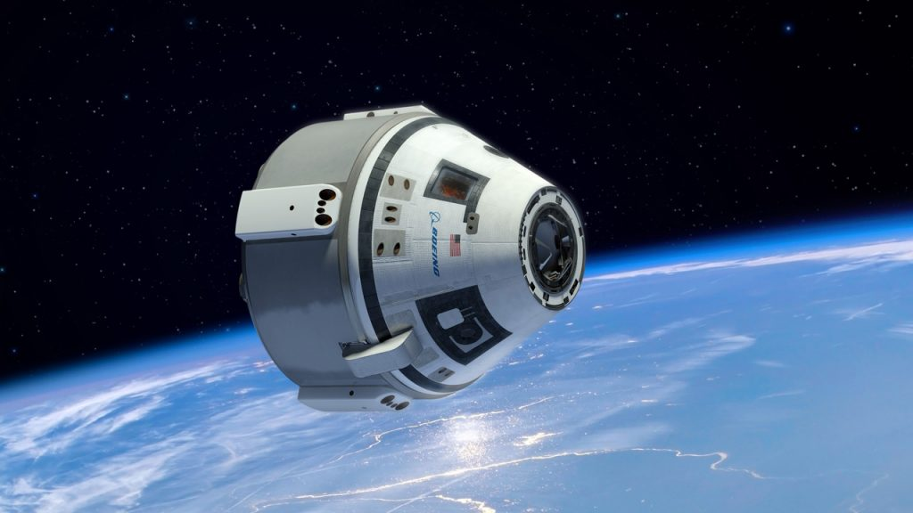 The Boeing Crew Space Transportation (CST) system, part of the Starliner spacecraft with 3D printed parts from Oxford Performance Materials. by Concept image via: Boeing.