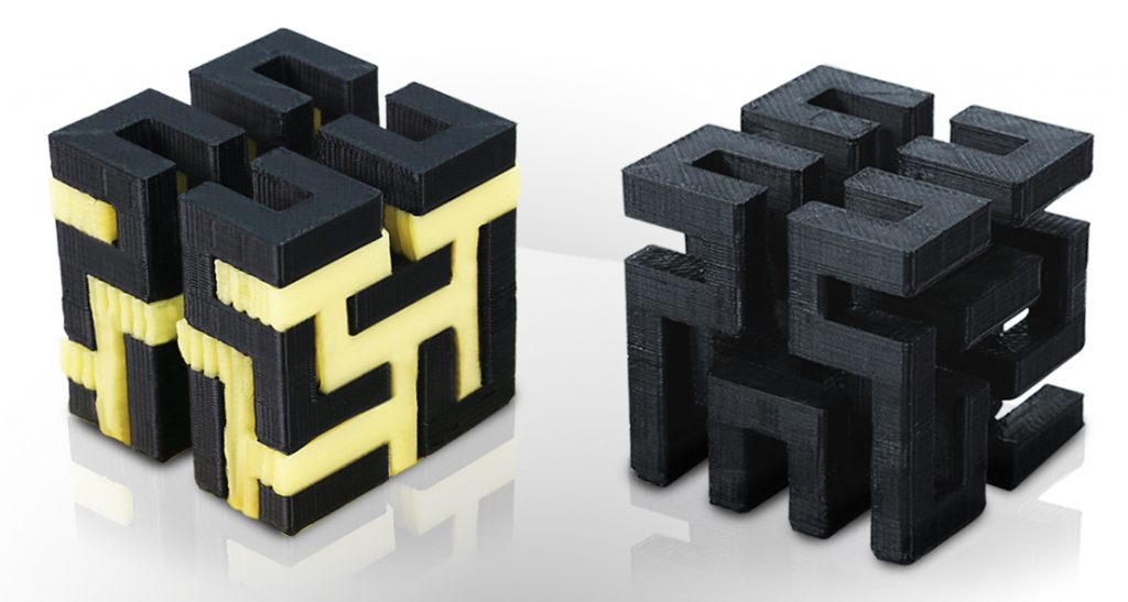 3D printed puzzle cube before and after Hydrofill removal. Image via: Airwolf 3D