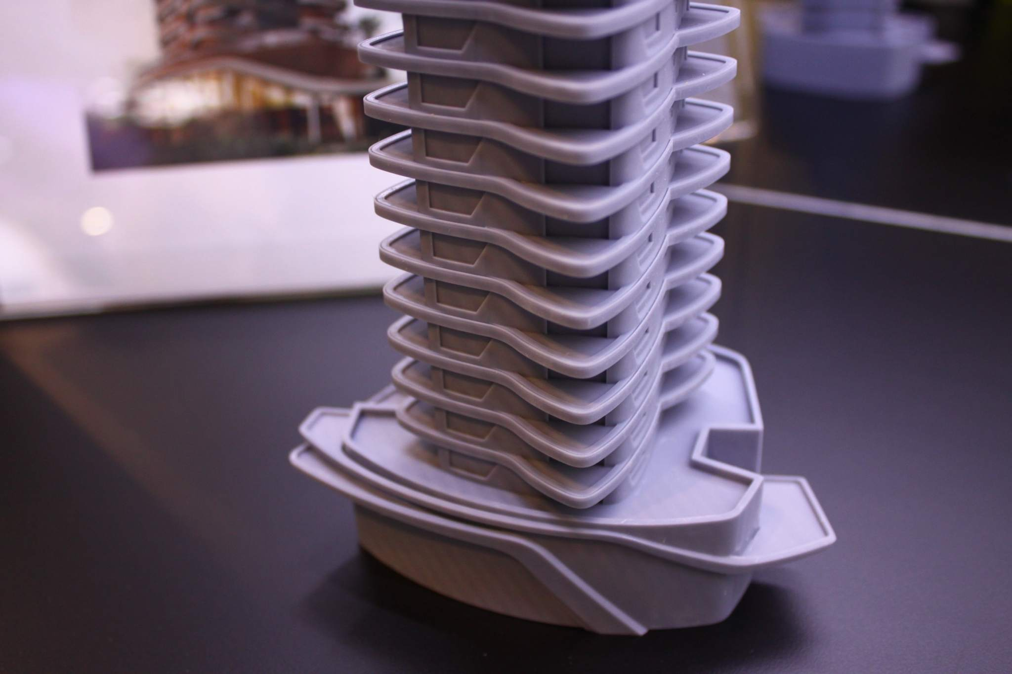 A close-up of the detailed 3D print of Cyrela's residential block in Sao Paulo designed by Pinainfarina. Photo via DWS.