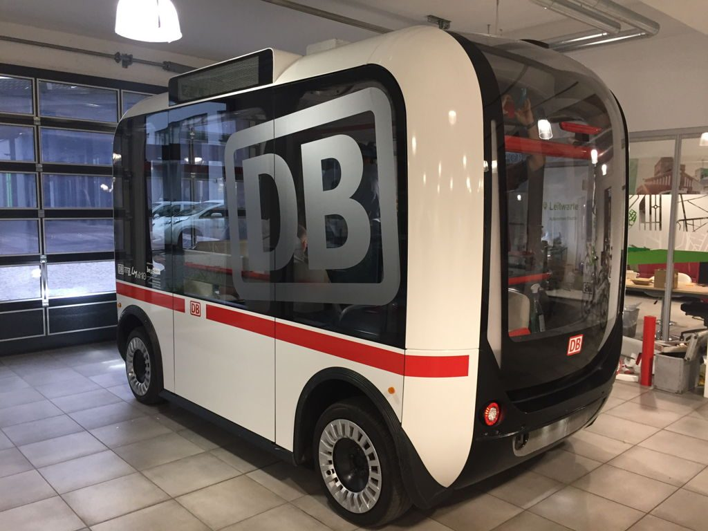 Olli with Deutsche Bahn branding. Photo via Local Motor's blog.