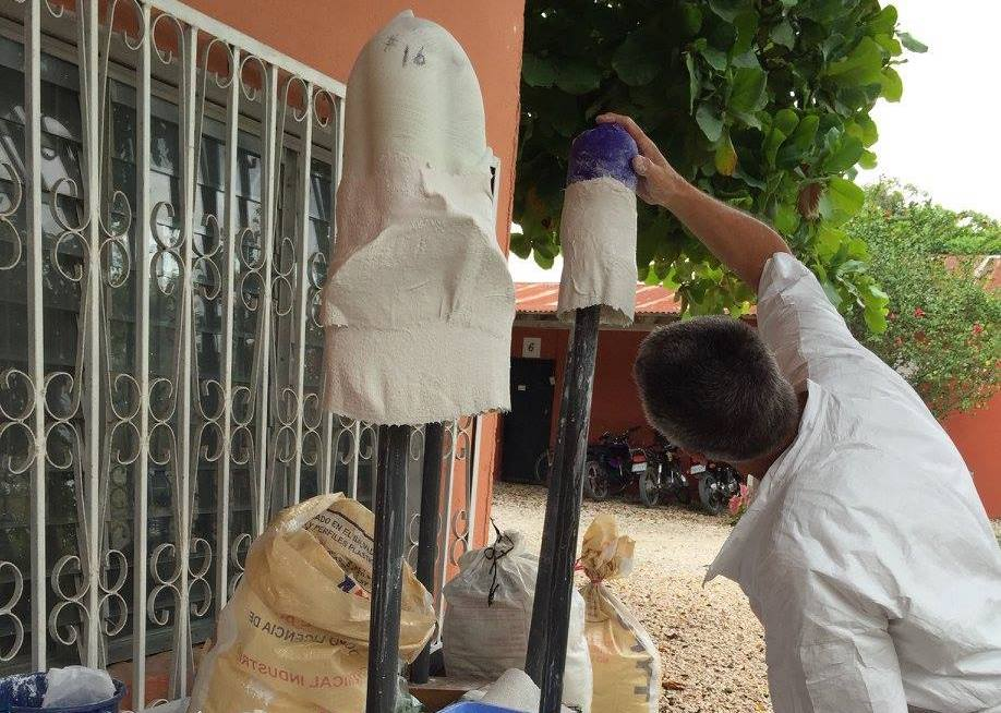 Prosthesis molds hung out to dry in Petén