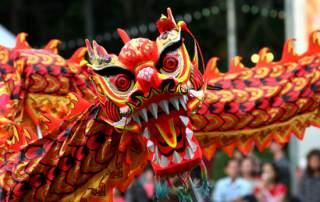 Chinese New year dragon dance in Hong Kong. Photo via Albany University.