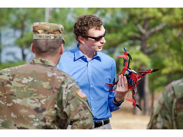 U.S. Army Research Laboratory engineer John Gerdes at Fort Benning, Georgia. Photo via U.S. Army by Angie DePuydt.