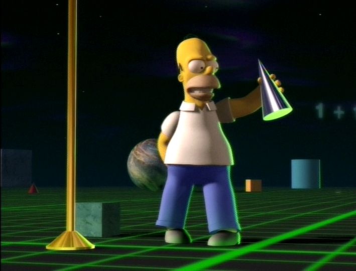 Who remembers The Simpsons Treehouse of Horror episode where a 2D Homer Simpson walks into a Tron-like universe and becomes 3D? Image property of Matt Groening/Fox Broadcasting