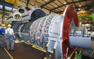 An example of Siemens manufacturing a gas turbine in a Berlin manufacturing plant. Photo via Siemens.