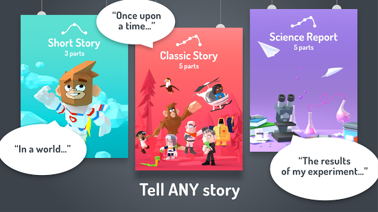 The different types of story you can create, including a more educational option of 'Science Report'. Image via Google.