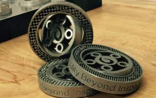 """Planetary Gears 3D printed using PrintRite3D inspection software. Features the motto """"Quality Beyond Inspection"""" Photo via @Sigmalabsinc on Twitter"""