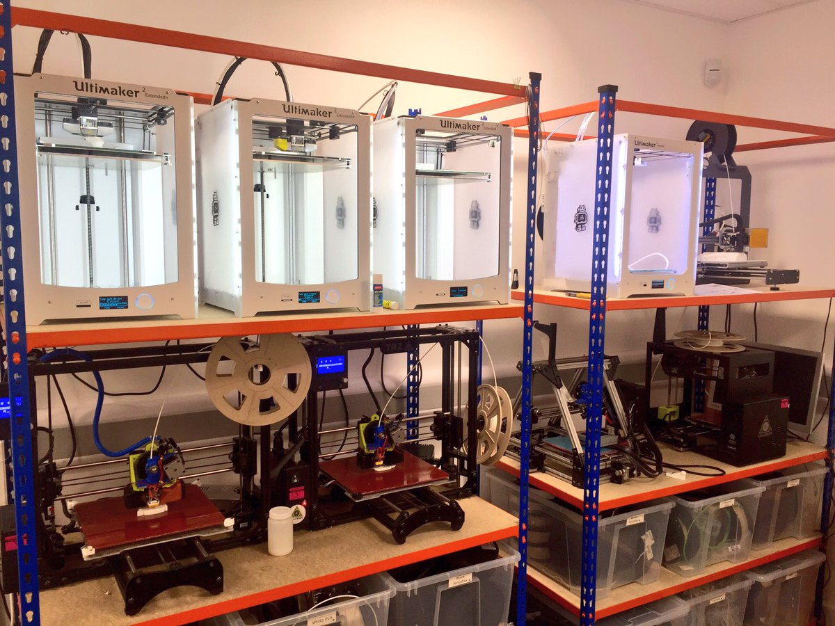 Open Bionics' fleet of Ultimaker 3D printers. Photo via Open Bionics on Twitter.
