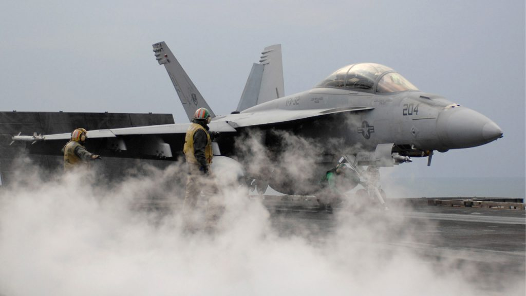 An FA-18E Super Hornet, part of Boeing's defence contracts. Photo via Boeing.