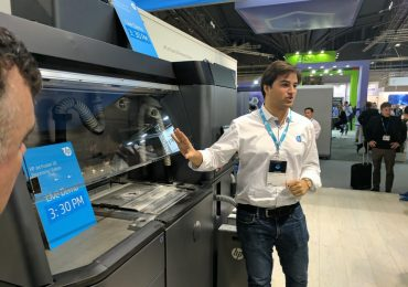 Demonstration of HP's Multi Jet Fusion 3D printing system. Photo by Michael Petch.