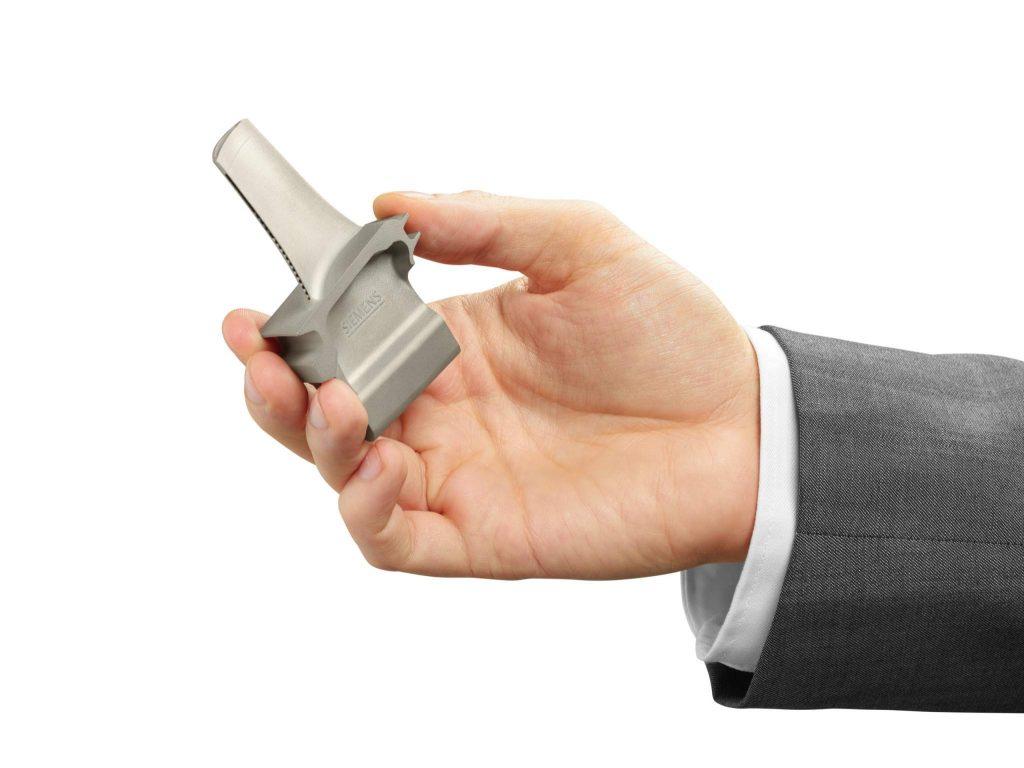 A single 3D printed turbine blade. Photo via: Siemens