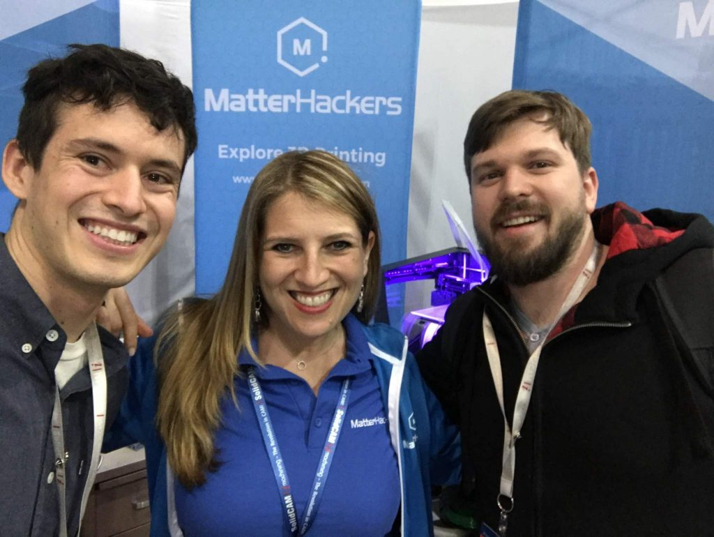 MatterHackers' Mara Hitner at SolidWorks World 2017 with Make Anything YouTuber Devin Montes (left) and 3D designer Kirby Downey (right) Photo via: Mara Hitner