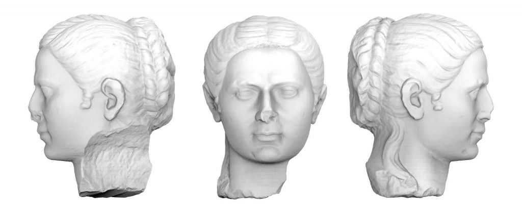 3D render of the marble head of a Roman Noblewoman from the 1st century BC.