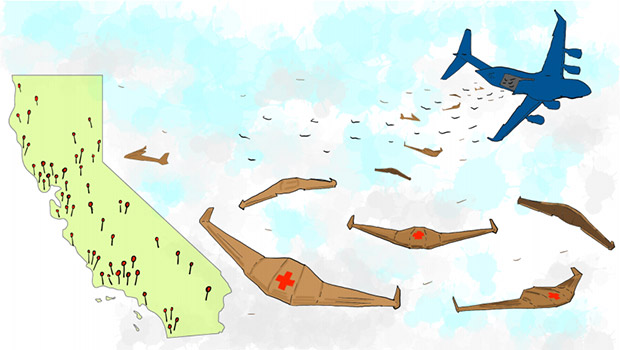 Illustration of how the drones would glide in the sky., Image via Otherlab.