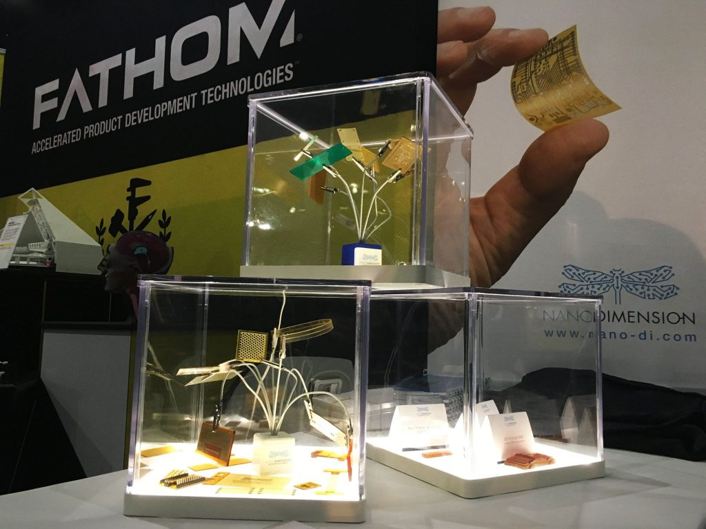 Nano Dimension PCB display at the FATHOM booth. Photo via: studiofathom on Facebook