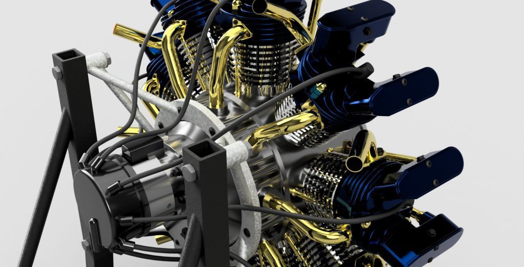 Olsryd 9 Cylinder Radial Engin Designed in Fusion 360 by Daniele Grandi, Casey Rogers and Carlos Oyuela-Mora Image via: Autodesk Fusion360 Gallery