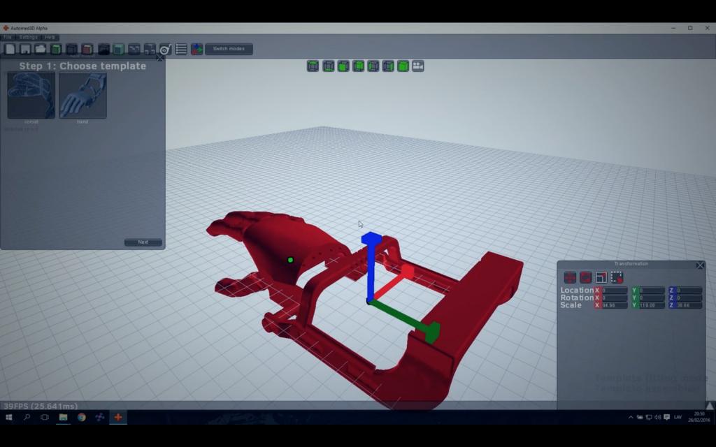 Adjusting an arm in WiDE software. Screenshot via: wide.tech