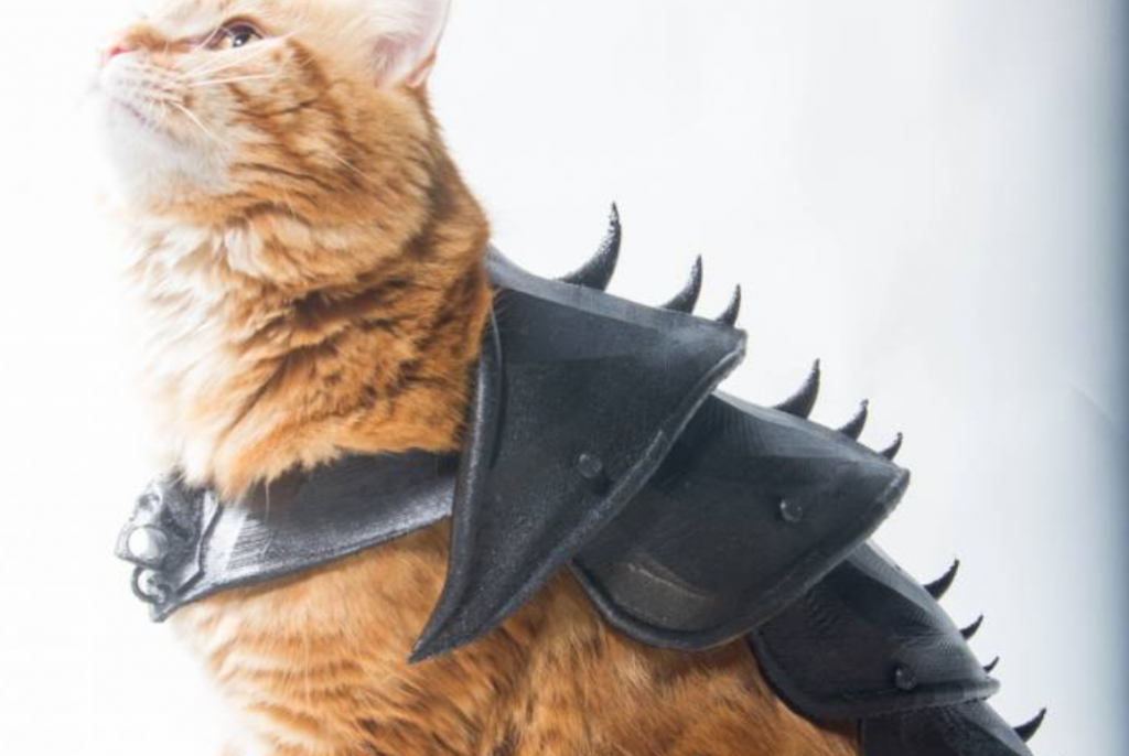Bobo the cat modelling 3D Printed Cat Armour. Photo by Jwall