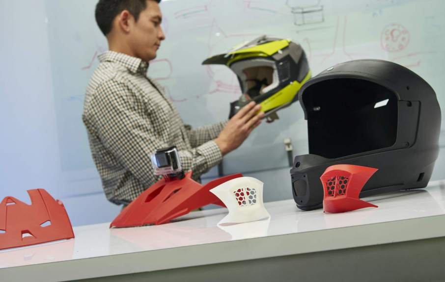Stratasys Motorcycle Helmets produced by Ctr for Advanced Design. Photo courtesy of Stratasys Ltd.