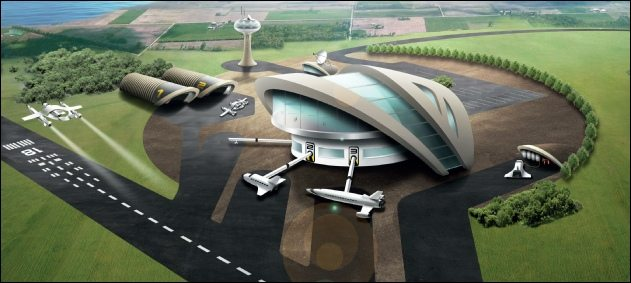 Artist impression of a UK spaceport. Image via Spaceport Newquay.