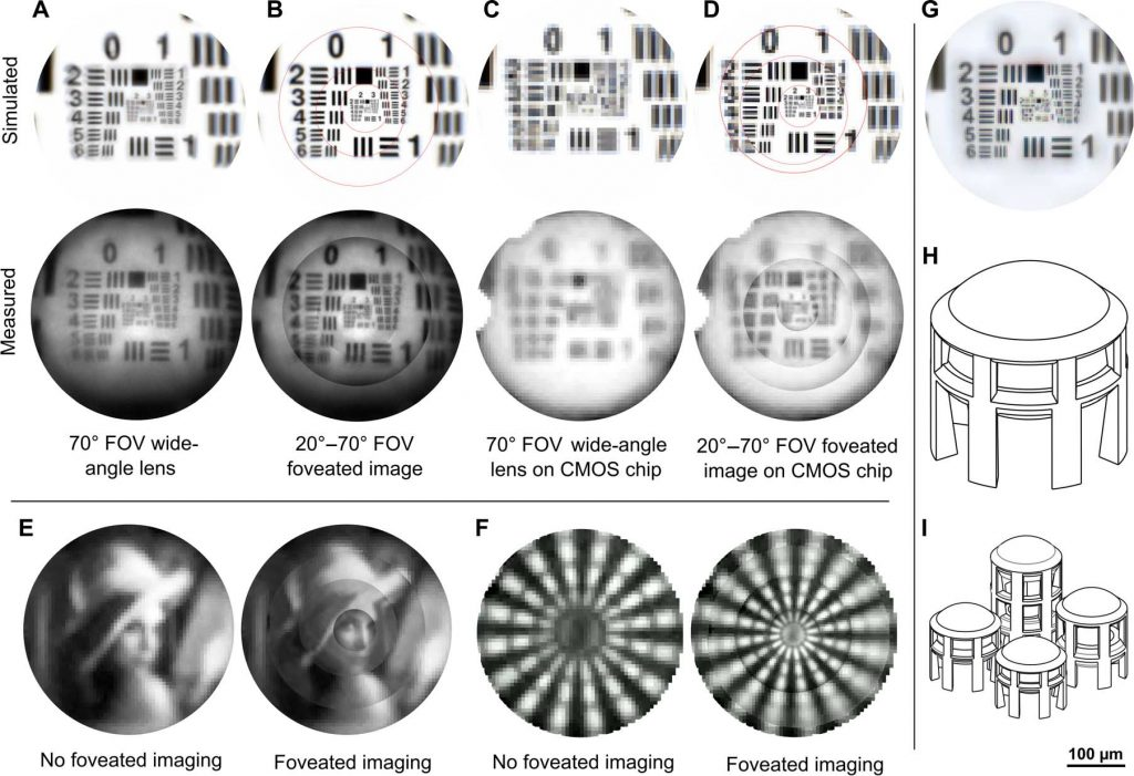 Simulated and actual images taken by the eagle eyed camera from Stuttgart University. H, I show the design of the micro lenses. Figure via Simon Thiele, Kathrin Arzenbacher, Timo Gissibl, Harald Giessen & Alois M. Herkommer