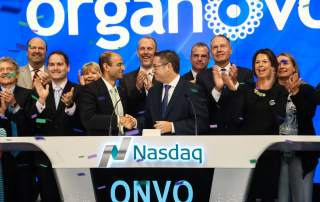 Organovo ringing the bell on the NASDAQ Stock Market. Photo via Organovo on Twitter