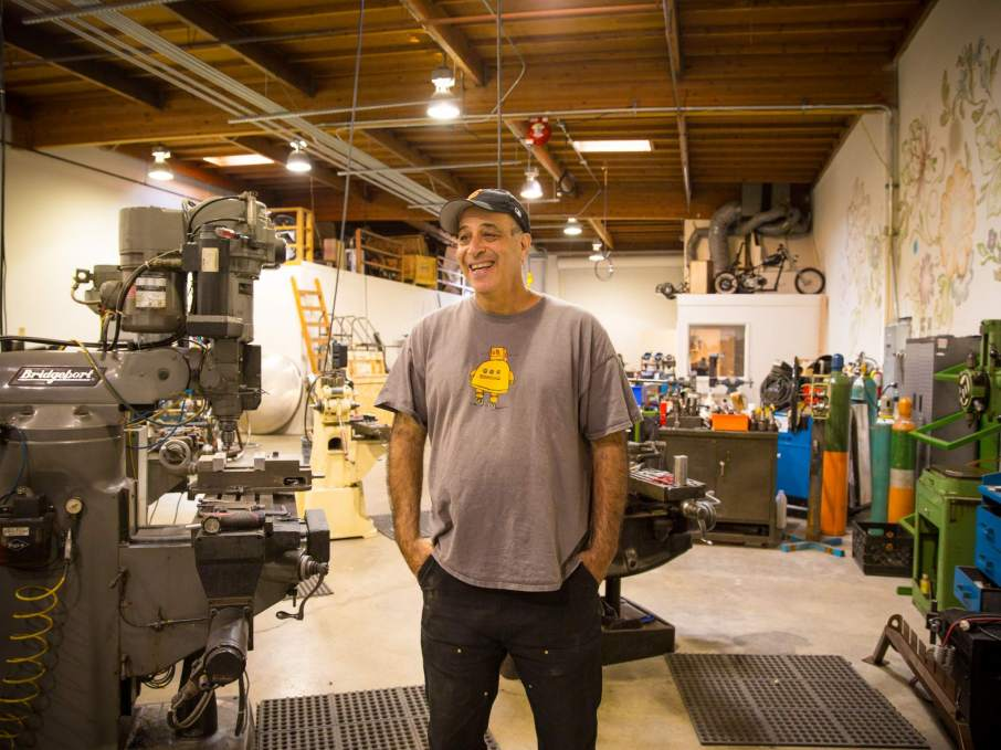 Carl Bass in his workshop at Autodesk. Photo via: Autodesk blogs