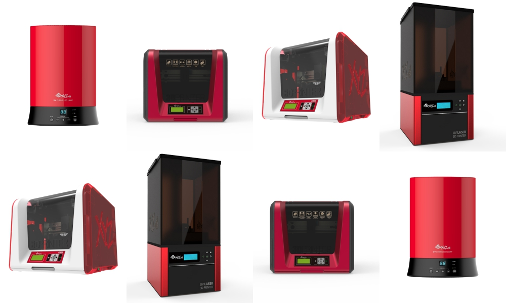 The new range from XYZ, top row from left to right: UV Curing Chamber, da Vinci Jr. 1.0 Pro, da Vinci Jr. 2.0 Mix, Nobel 1.0A Photos via XYZ Printing