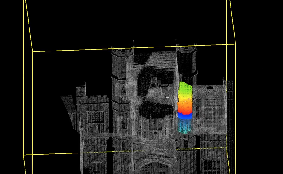 The rainbow-colored part of this point cloud highlights Coughton Court's hidden priest hideaway. Image via: Lukasz K Bonenberg on Youtube.