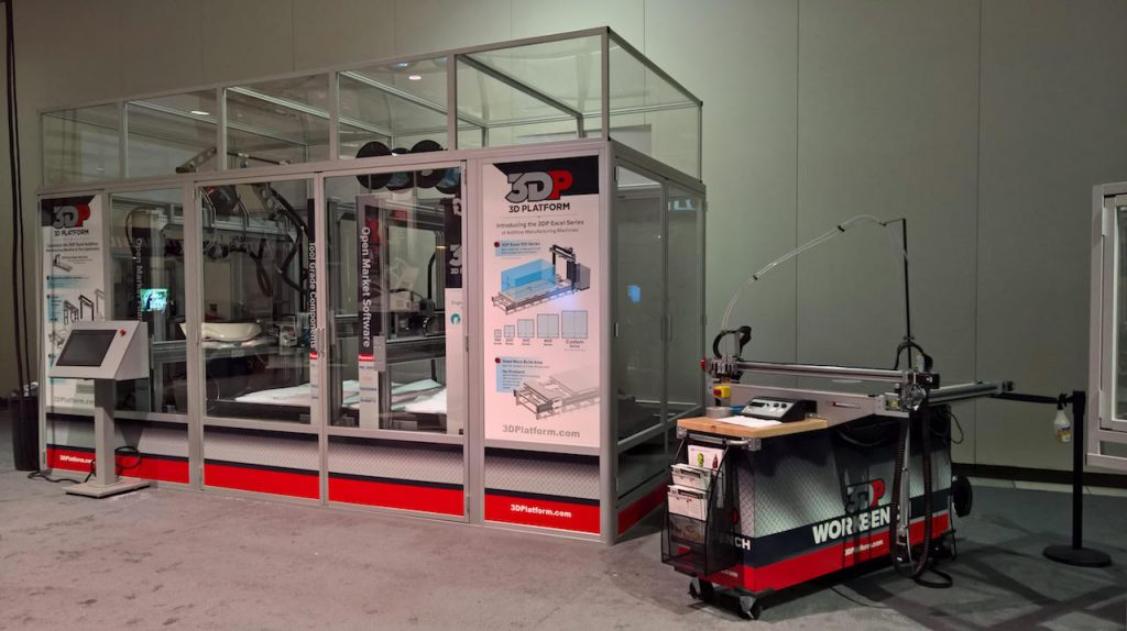 The 3D Platform big area Excel additive manufacturing machine (left) with the Workbench for comparison on the right. Photo via: 3D Platform/Fabbaloo