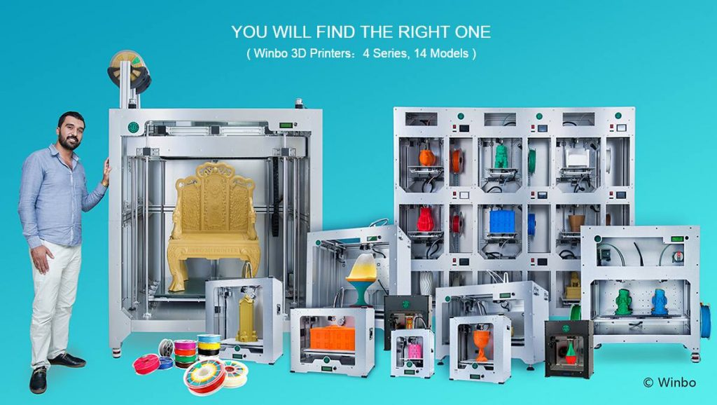 Winbo's 3D printer range (minus the Super Helper series)