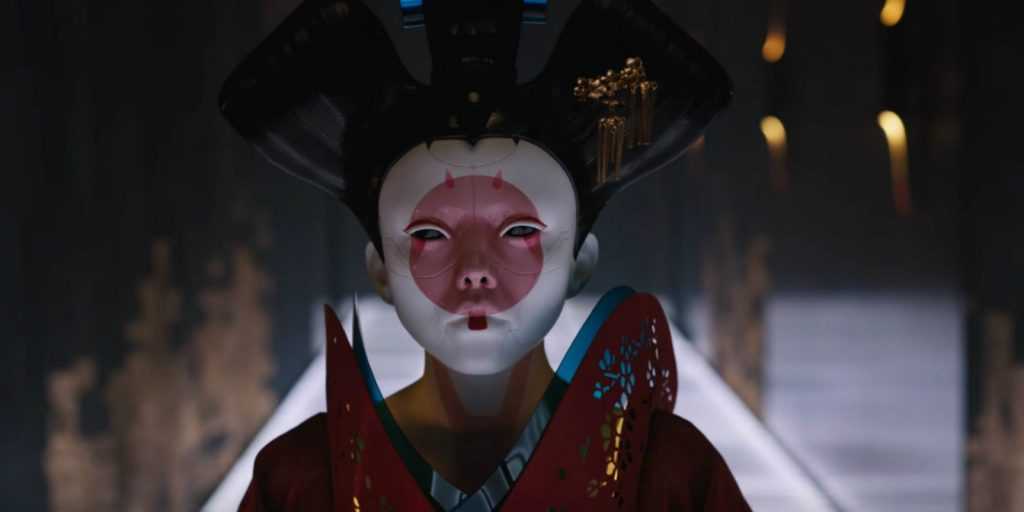 A Robo Geisha in Ghost in the Shell 2017. Screenshot property of Paramount Pictures