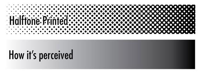 How halftone printing represents gradient.